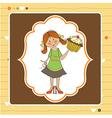 Birthday greeting card with girl and big cupcake vector