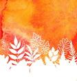 Orange watercolor painted autumn foliage vector