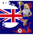 Football poster with girl and great britain flag vector