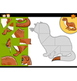 Cartoon weasel jigsaw puzzle game vector
