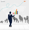 Businessman showing graph with building background vector