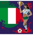 Football poster with girl and italian flag vector