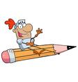 Knight man riding a giant pencil vector
