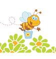 Cartoon character bee flying bucket in the flowers vector