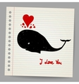 Cute doodle in love whale with hearts vector