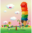 A boy and a girl playing at the park with sweets vector