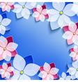 Floral festive frame with 3d flowers sakura vector