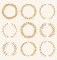 Set of linear wreaths vector