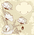 Vintage card with poppy flowers vector