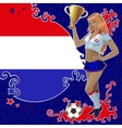 Football poster with girl and netherlandish flag vector