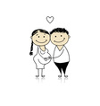 Happy parents waiting for baby pregnancy vector