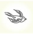 Old school swallow bird tattoo vector