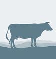 Cow silhouette graze in the field landscape sky vector