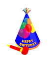 Party hat and noisemaker vector