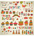 Birthday party design cute hand drawn elements vector
