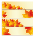 Set of banners with yellow maple leaf vector