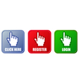 Buttons - click here register and login vector