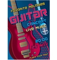 Rock concert design template with guitar micropho vector
