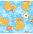 Seamless pattern with cartoon toy - yellow duck vector