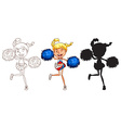 Sketches of a cheerdancer in different colours vector