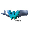 A letter w for whale vector