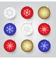 Colorful christmas baubles with snowflake ornament vector
