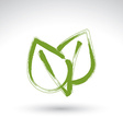 Hand drawn simple green eco leaves icon real ink vector