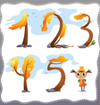 Autumn tree number vector