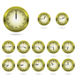 Set of colorful clock icon vector