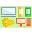 Set digital objects on flat style vector