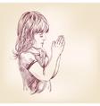 Little girl praying hand drawn llustration vector