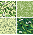 Set of seamless patterns with delicious vegetables vector