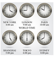 Set of colorful clock iconworld time concept vector