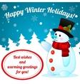 Funny cartoon snowman on christmas background vector