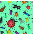Color bugs and beetles green seamless pattern vector