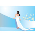 Beautiful woman in white dress vector