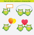 Set of owl cartoon character vector