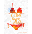 Watercolor red orange bikini vector
