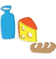 Yogurt cheese and a loaf vector