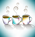 3 coffee cups vector