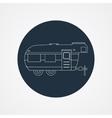 Rv camping icon logo and badge caravan on dark vector