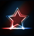 Red blue white glowing frame shaped as a star vector