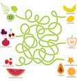 Fruit labyrinth game for preschool children vector