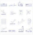 Airport and airplane simple outline icons set vector