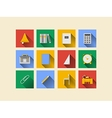 Flat icons for school supplies vector