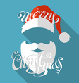 Flat retro christmas card with long shadow vector