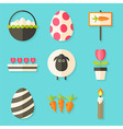 Easter icons set with shadows over blue vector