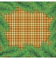 Scottish background with christmas tree branch vector