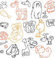 Doodle dogs set - pen on paper vector