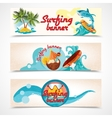 Surfing banners set vector